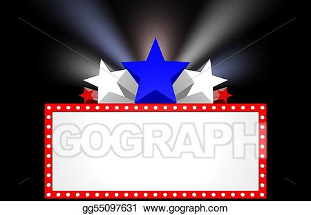 Marquee clipart movie preview. Stock illustration drawing