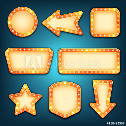 Retro frames with light. Marquee clipart vintage