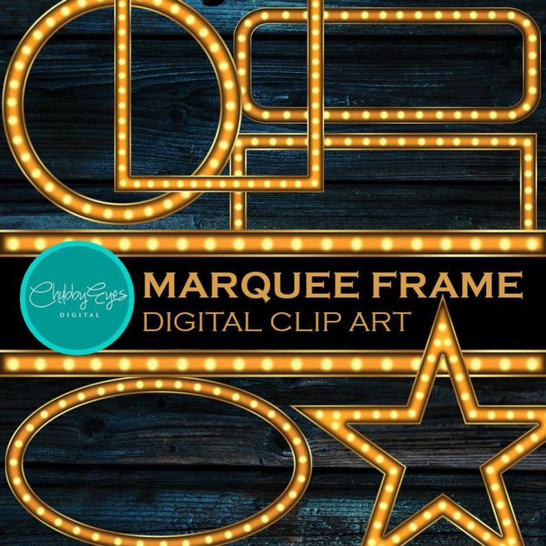 Light digital frame clip. Marquee clipart vintage