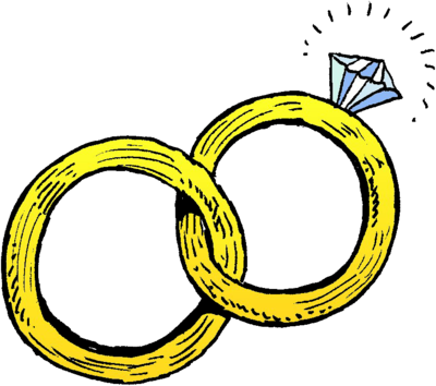 Image joined wedding rings. Marriage clipart