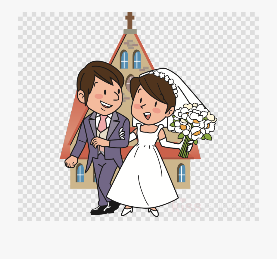 Married couple getting . Marriage clipart