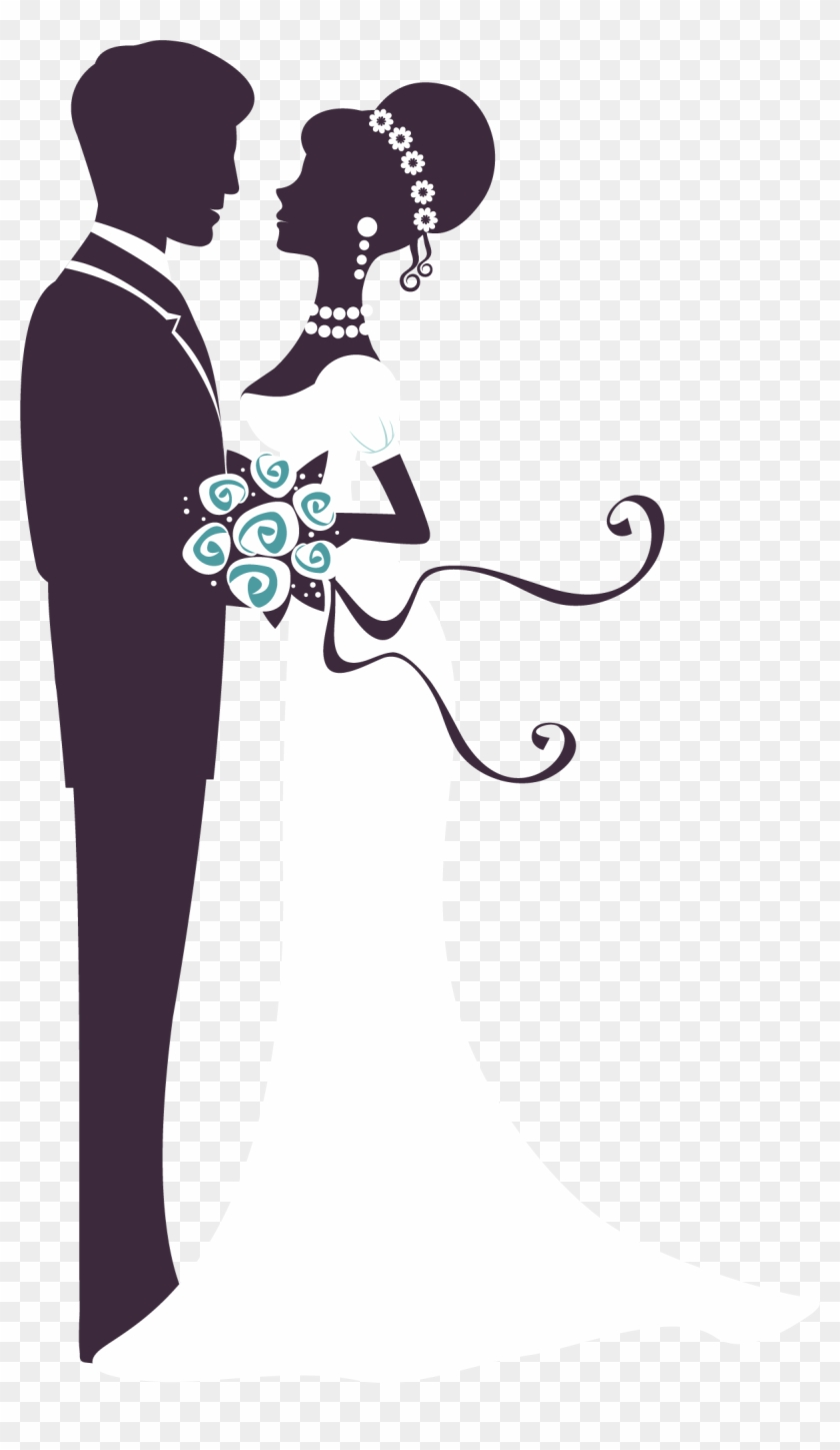 Bride and groom silhouette. Marriage clipart married man