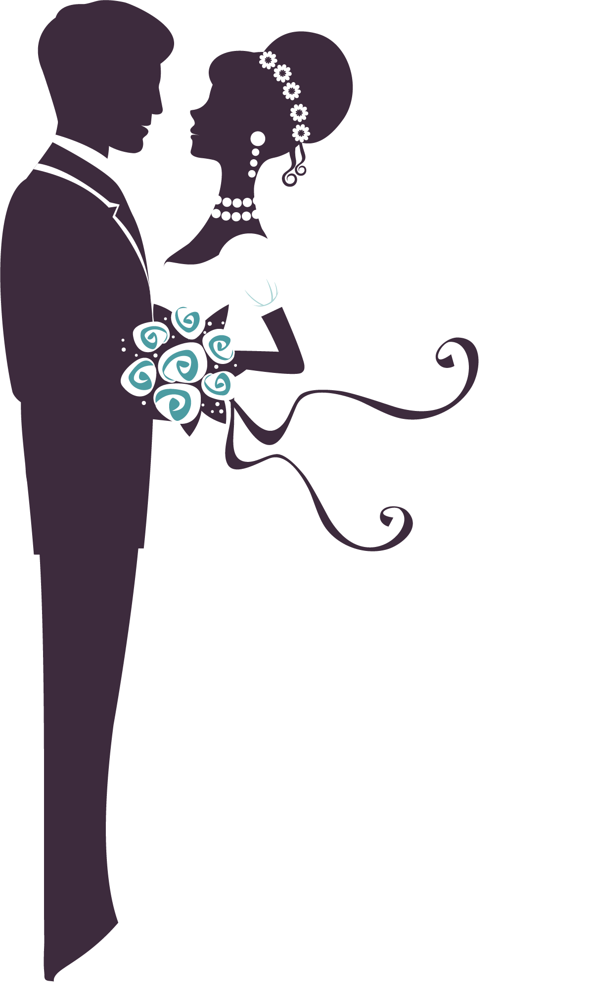 Bridegroom silhouette hand drawn. Marriage clipart married man