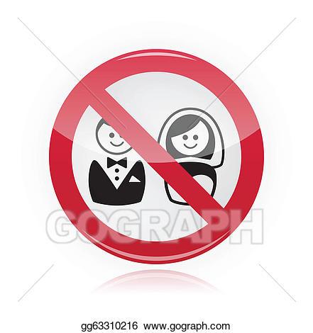 Vector no wedding . Marriage clipart sign