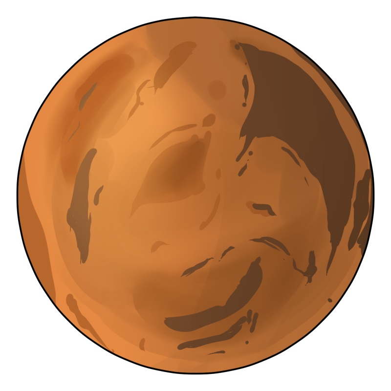 Mars . Planet clipart cute