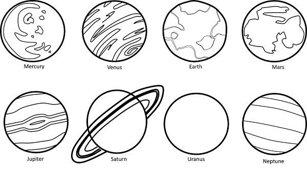 Planets black white free. Planet clipart outline