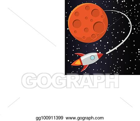 Eps vector rocket with. Mars clipart illustration