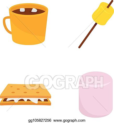 Marshmallow clipart bucket. Vector illustration smores candy