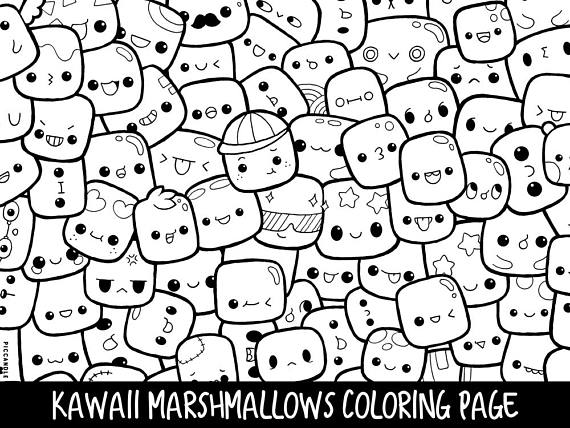 Marshmallow clipart coloring page, Marshmallow coloring ...