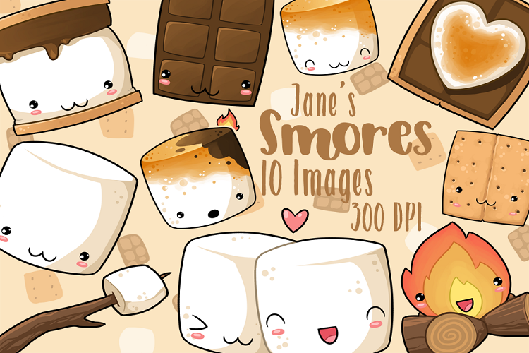Kawaii cartoon foods cute. Smores clipart animated