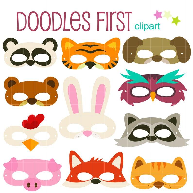 Party digital clip art. Mask clipart animal