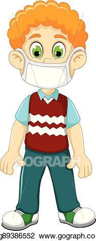Mask clipart boy. Vector cute cartoon wearing