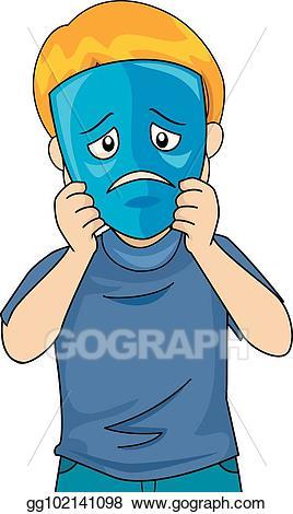 Vector art kid sad. Mask clipart boy