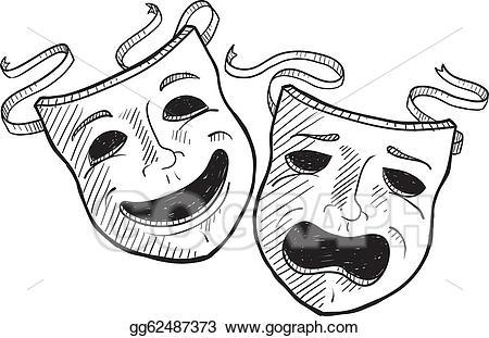Mask clipart drama. Vector masks sketch illustration
