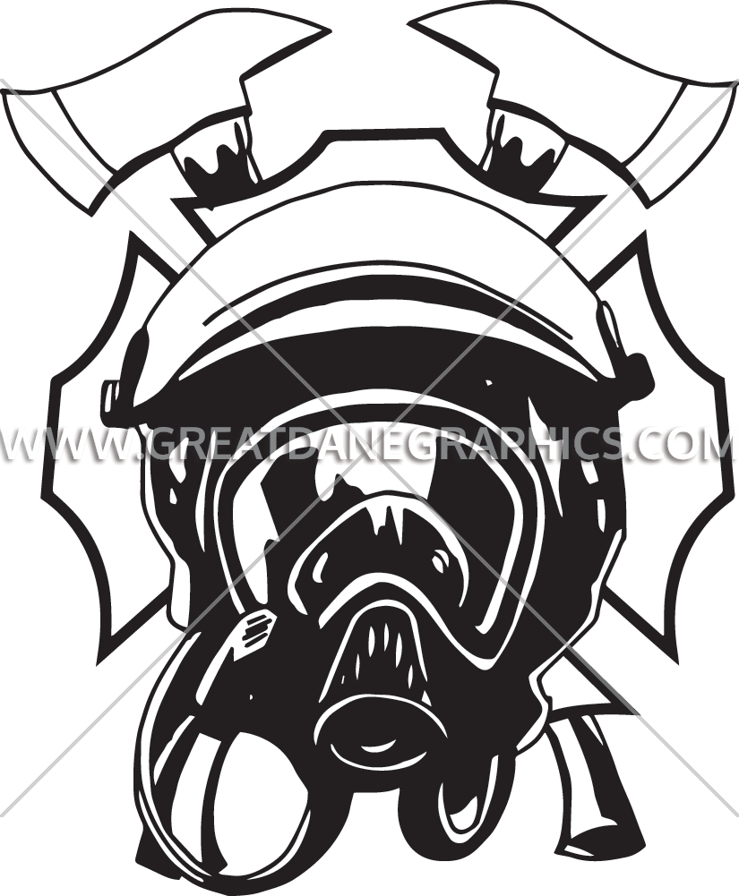 Mask clipart fire fighter. Emblem production ready artwork