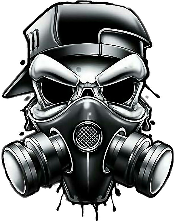 Graffiti skull gangster sticker. Mask clipart gas mask