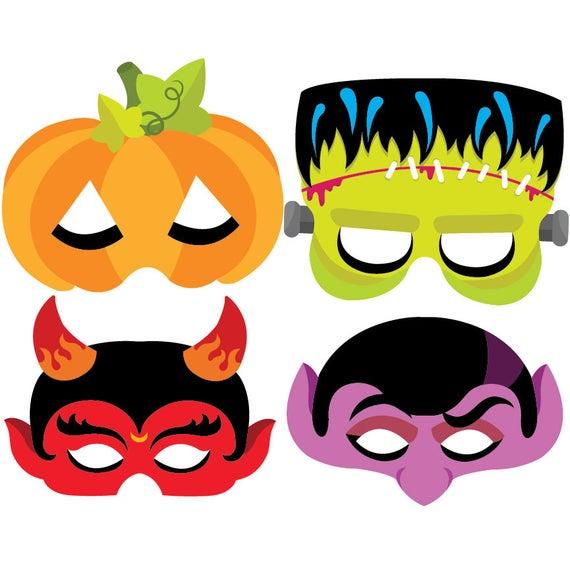 Mask clipart halloween. Vector set instant download