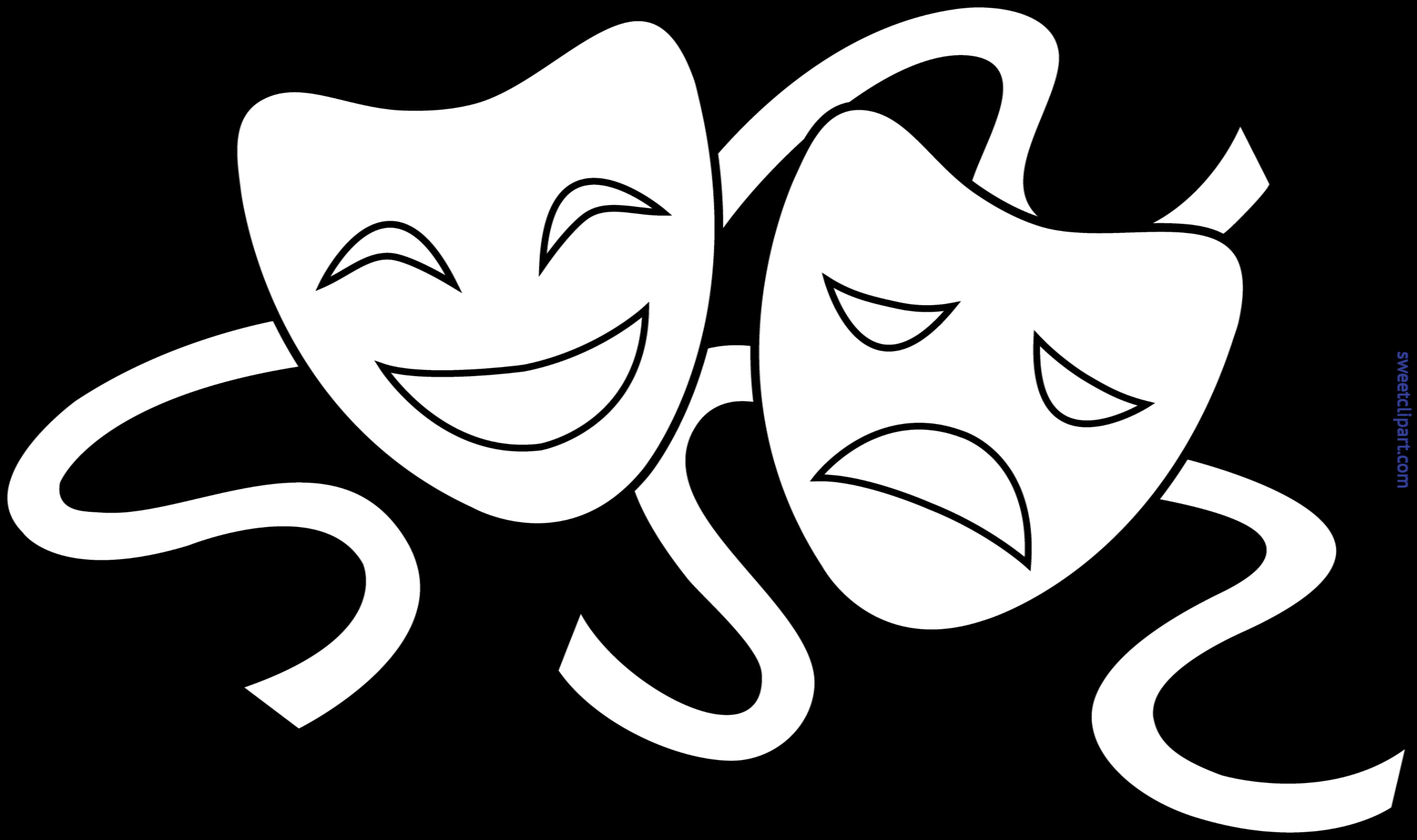Mask clipart line art. Theater masks lineart clip