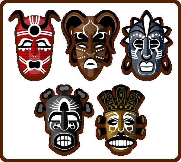 Tribal masks clip art. Mask clipart masked