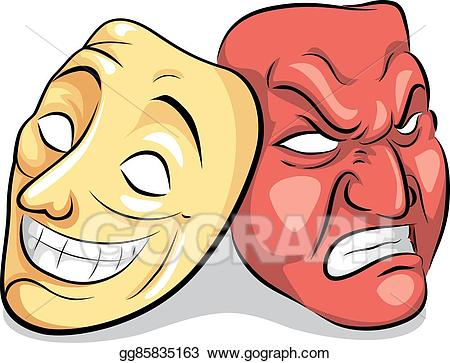 Vector personality disorder bipolar. Mask clipart mood