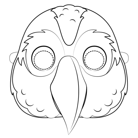 Coloring page free printable. Parrot clipart mask