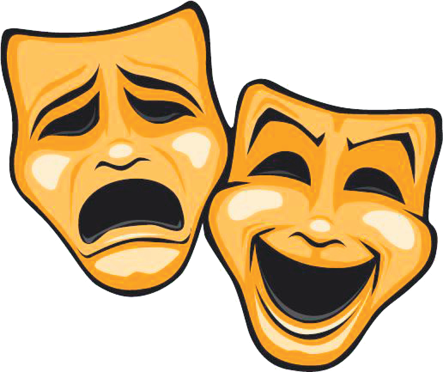 Mask tragedy comedy dinner. Theatre clipart border