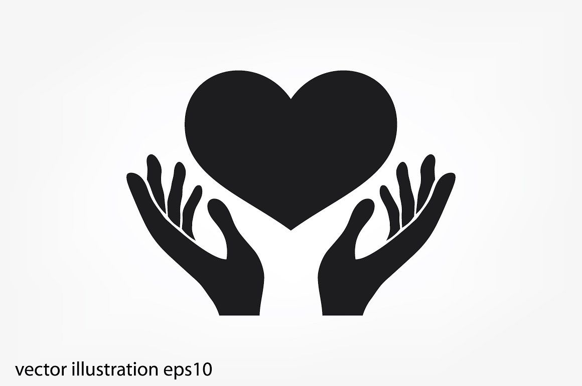 Massages clipart hand symbol. Heart in the hands