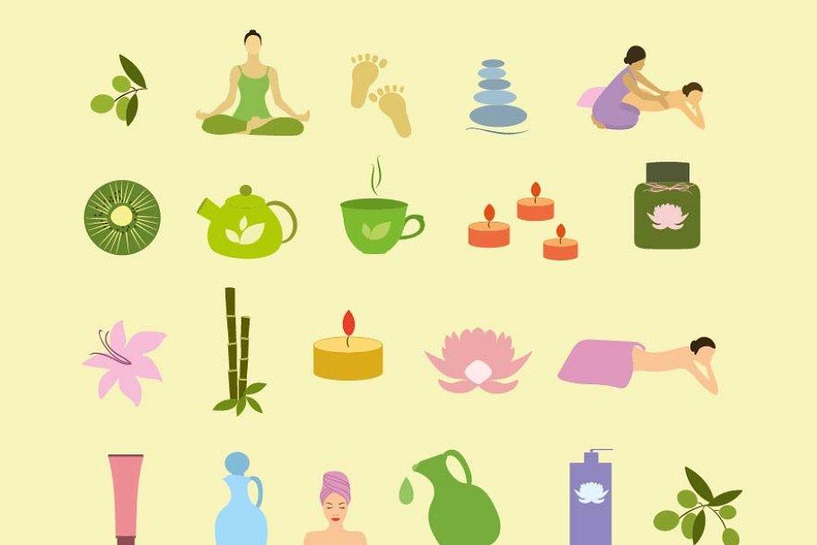 Massages clipart salon spa. Colorful icons vector set