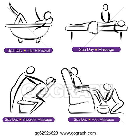 Massages clipart spa day. Vector illustration people set