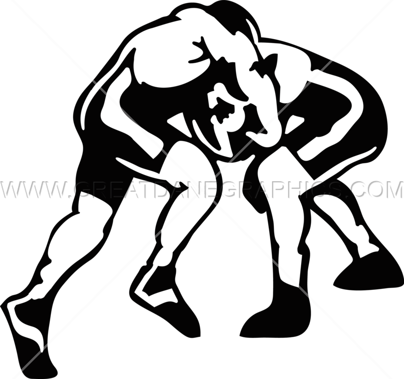 Wrestlers clipart black and white. Wrestling match production ready
