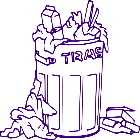 Rubbish clip art at. Outline clipart bin