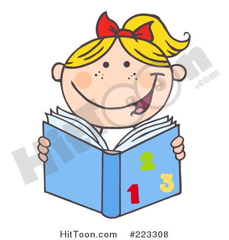 Blond caucasian school girl. Math clipart reading