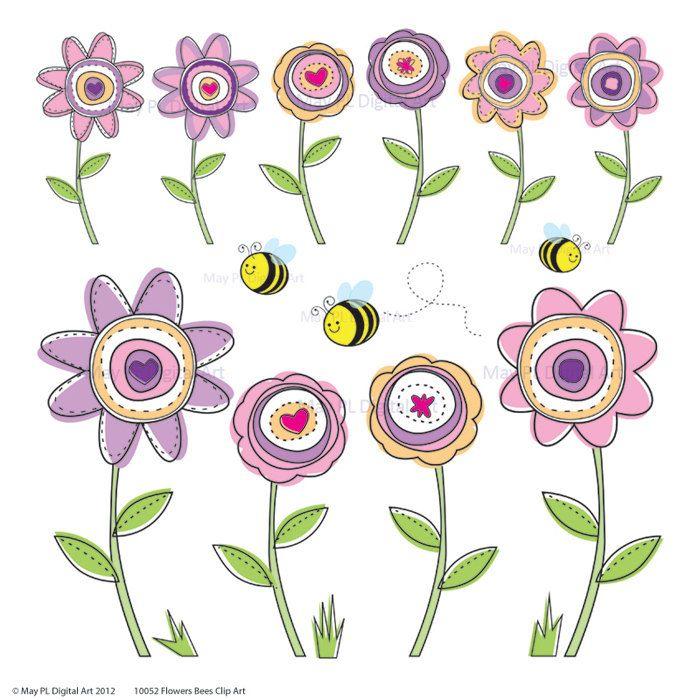 Digital clip art spring. May clipart modern flower