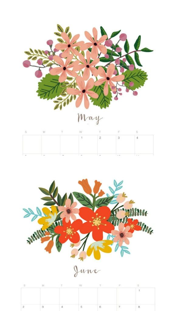 May clipart modern flower. Beautiful floral calendar monthly