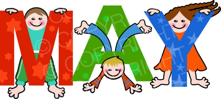 May clipart month year. Kids months of the