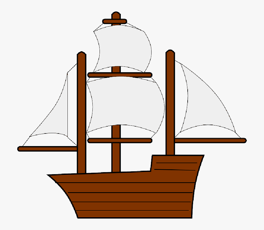 Mayflower sail ship transparent. Boat clipart old fashioned