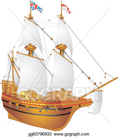 Vector galleon illustration gg. Mayflower clipart