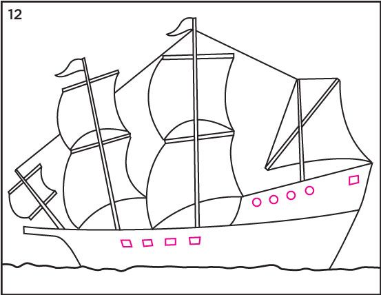 Mayflower clipart simple ship. Draw a how to