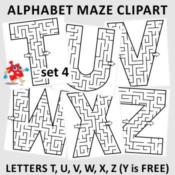 Maze clipart. Alphabet letters t u