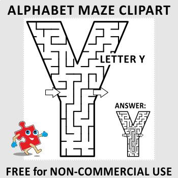 Alphabet letter y free. Maze clipart