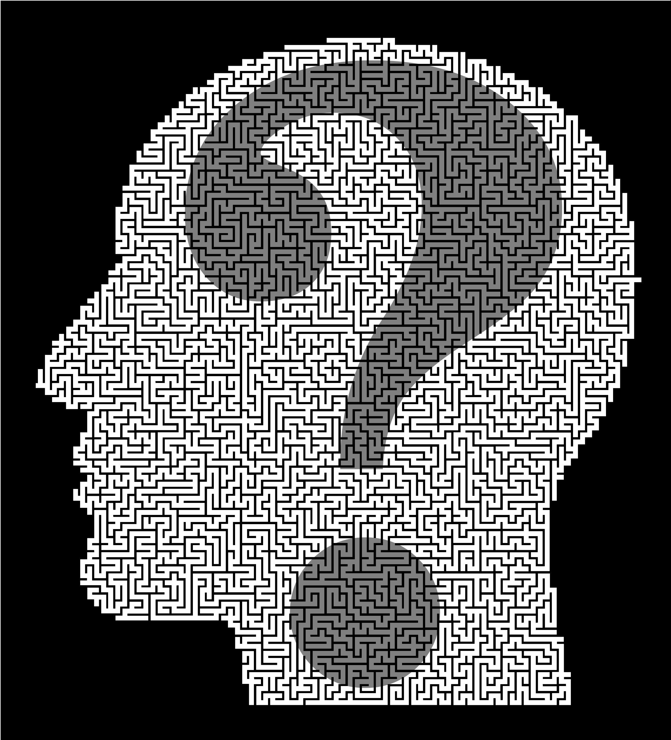 Man head question mark. Maze clipart brain