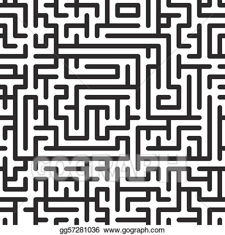 Maze clipart complicated. Vector art black and