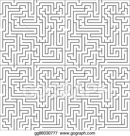 Vector illustration black on. Maze clipart complicated