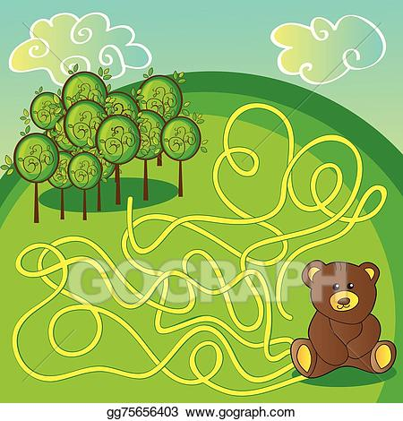 Maze clipart forest. Vector illustration game or