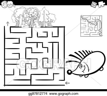 Maze clipart forest. Vector art with hedgehog
