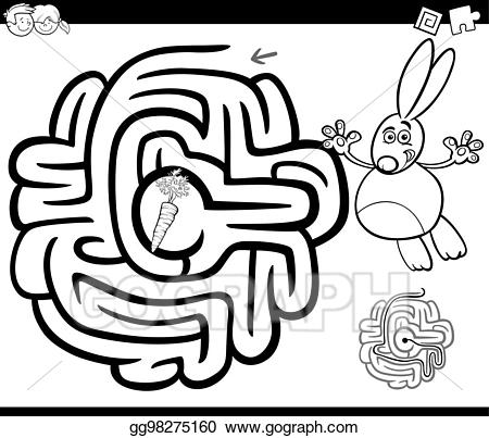Eps illustration with rabbit. Maze clipart forest