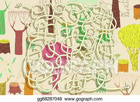 Eps illustration game solution. Maze clipart forest