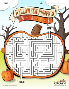 Maze clipart halloween. Pumpkin worksheets teaching resources