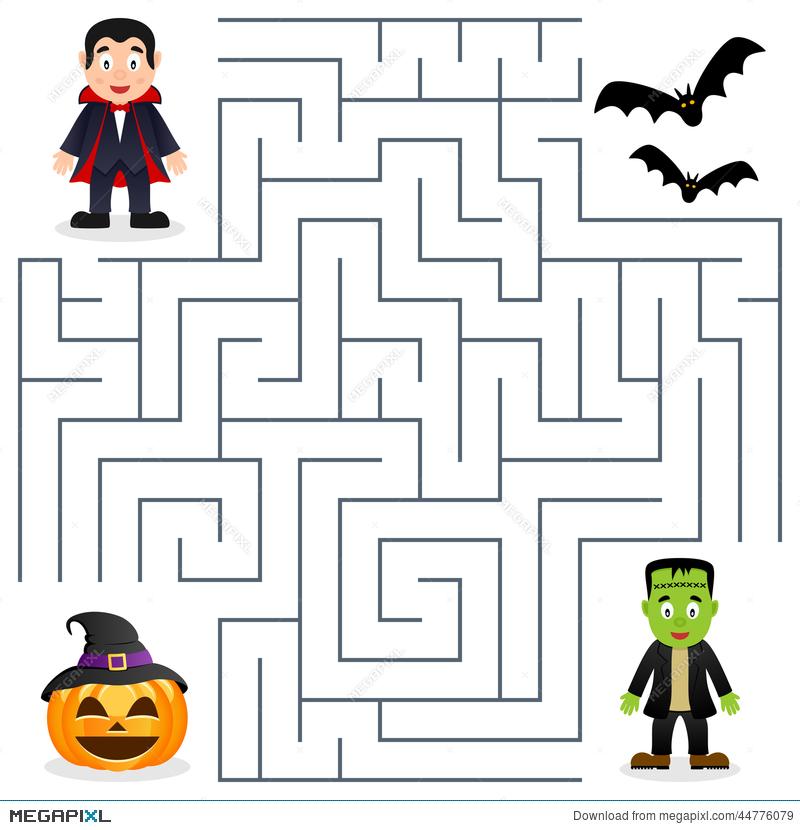 Dracula frankenstein illustration . Maze clipart halloween