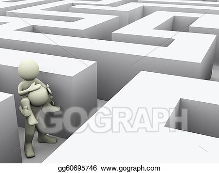 Stock illustration d people. Maze clipart human